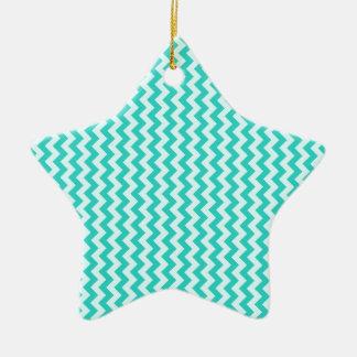 Zigzag Wide - Celeste and Turquoise Ceramic Star Decoration
