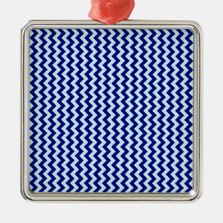 Zigzag Wide - Pale Blue and Navy Blue Square Metal Christmas Ornament