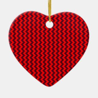 Zigzag Wide - Red and Dark Scarlet Ceramic Heart Decoration
