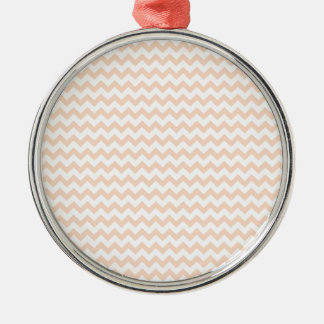 Zigzag Wide  - White and Apricot Silver-Colored Round Decoration