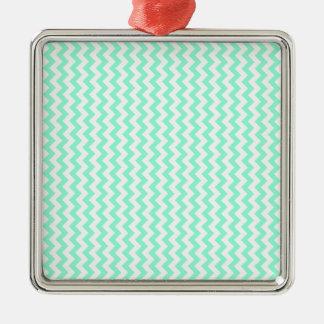 Zigzag Wide  - White and Aquamarine Silver-Colored Square Decoration