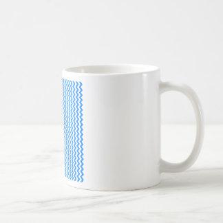 Zigzag Wide - White and Azure Mugs