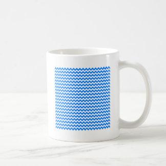 Zigzag Wide  - White and Azure Coffee Mugs