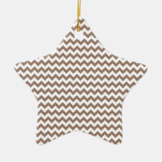 Zigzag Wide  - White and Beaver Ceramic Star Decoration