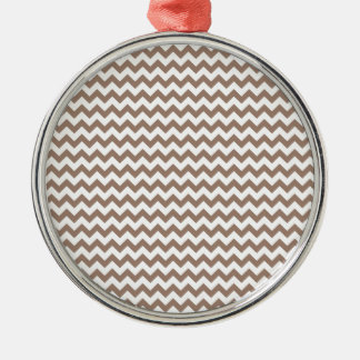 Zigzag Wide  - White and Beaver Silver-Colored Round Decoration