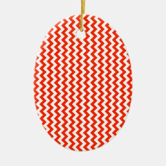 Zigzag Wide  - White and Bright Red Ceramic Oval Decoration