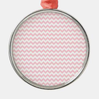 Zigzag Wide  - White and Bubble Gum Silver-Colored Round Decoration