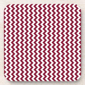 Zigzag Wide - White and Burgundy Beverage Coaster