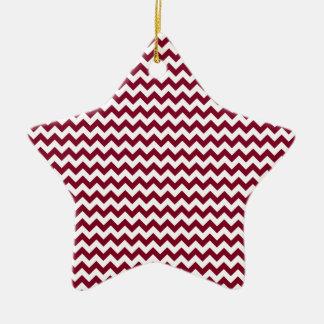 Zigzag Wide  - White and Burgundy Ceramic Star Decoration