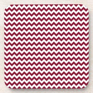 Zigzag Wide - White and Burgundy Coaster