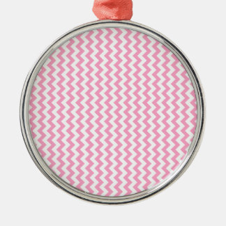 Zigzag Wide  - White and Carnation Pink Silver-Colored Round Decoration