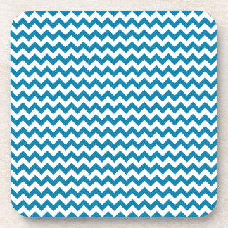 Zigzag Wide - White and Celadon Blue Beverage Coasters