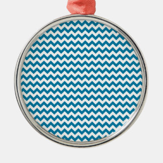 Zigzag Wide  - White and Celadon Blue Christmas Ornament