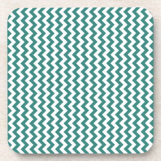 Zigzag Wide - White and Celadon Green Beverage Coasters