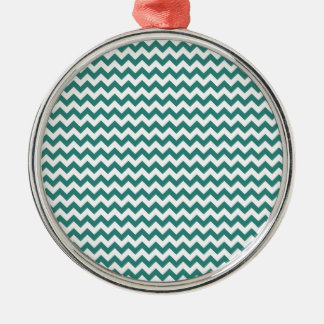 Zigzag Wide  - White and Celadon Green Silver-Colored Round Decoration