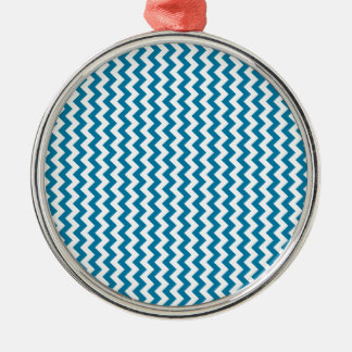 Zigzag Wide  - White and Cerulean Christmas Ornaments
