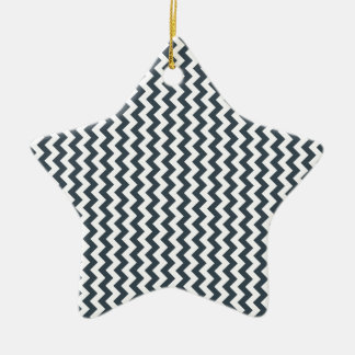 Zigzag Wide  - White and Charcoal Ceramic Star Decoration