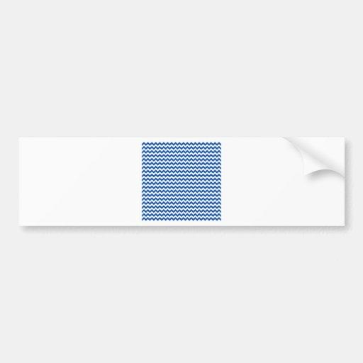Zigzag Wide  - White and Cobalt Bumper Sticker