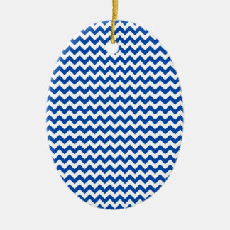 Zigzag Wide - White and Cobalt Christmas Ornaments