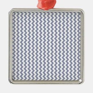 Zigzag Wide  - White and Cool Gray Silver-Colored Square Decoration