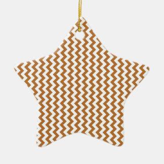 Zigzag Wide  - White and Copper Ceramic Star Decoration