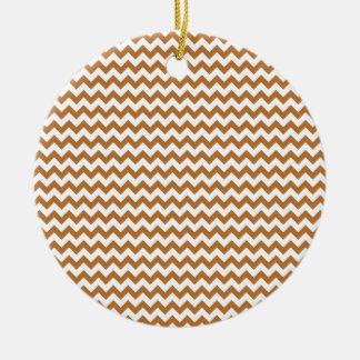 Zigzag Wide  - White and Copper Round Ceramic Decoration