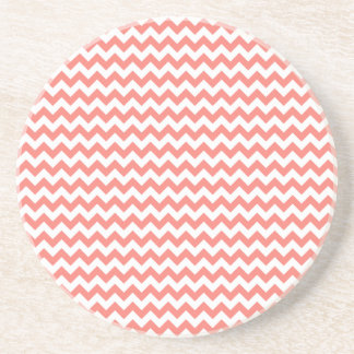 Zigzag Wide  - White and Coral Pink Coaster