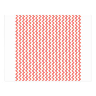 Zigzag Wide  - White and Coral Pink Postcards