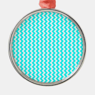 Zigzag Wide  - White and Cyan Christmas Ornaments