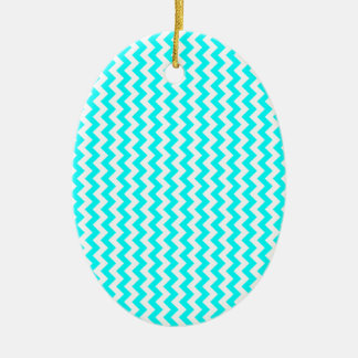 Zigzag Wide - White and Cyan Ornaments