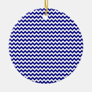 Zigzag Wide  - White and Dark Blue Christmas Tree Ornament