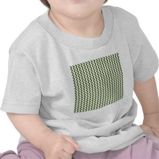 Zigzag Wide - White and Dark Olive Green Tee Shirt