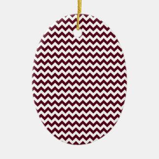 Zigzag Wide  - White and Dark Scarlet Ceramic Oval Decoration