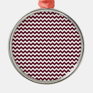 Zigzag Wide  - White and Dark Scarlet Round Metal Christmas Ornament