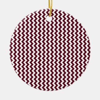Zigzag Wide  - White and Dark Scarlet Round Ceramic Decoration