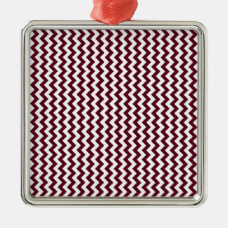 Zigzag Wide  - White and Dark Scarlet Silver-Colored Square Decoration