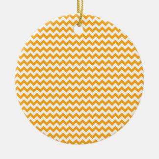 Zigzag Wide  - White and Dark Tangerine Round Ceramic Decoration