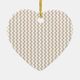 Zigzag Wide  - White and Dark Vanilla Ceramic Heart Decoration