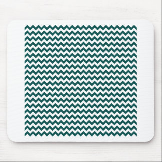 Zigzag Wide  - White and Deep Jungle Green Mouse Pad