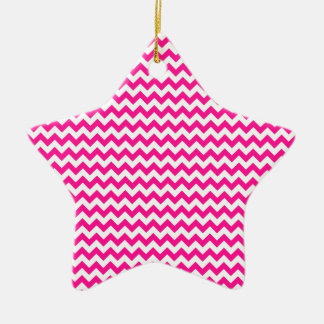 Zigzag Wide  - White and Deep Pink Ceramic Star Decoration