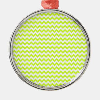 Zigzag Wide  - White and Fluorescent Yellow Silver-Colored Round Decoration