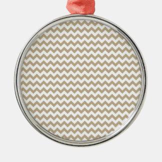 Zigzag Wide  - White and Khaki Silver-Colored Round Decoration