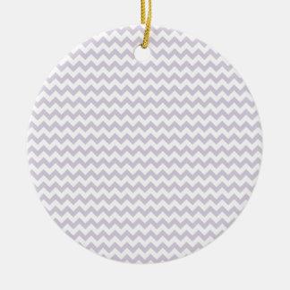 Zigzag Wide  - White and Languid Lavender Round Ceramic Decoration