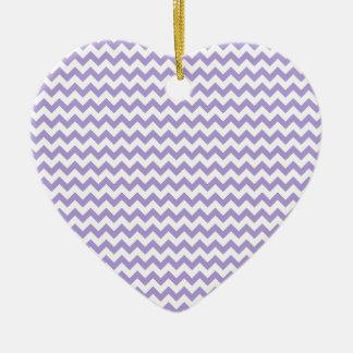 Zigzag Wide  - White and Light Pastel Purple Ceramic Heart Decoration