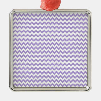 Zigzag Wide  - White and Light Pastel Purple Silver-Colored Square Decoration