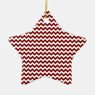 Zigzag Wide  - White and Maroon Ceramic Star Decoration