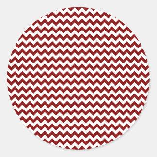 Zigzag Wide  - White and Maroon Classic Round Sticker