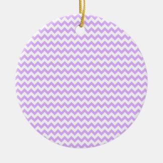 Zigzag Wide  - White and Mauve Round Ceramic Decoration