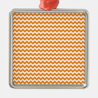 Zigzag Wide  - White and Orange Silver-Colored Square Decoration