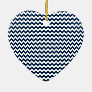 Zigzag Wide  - White and Oxford Blue Ceramic Heart Decoration